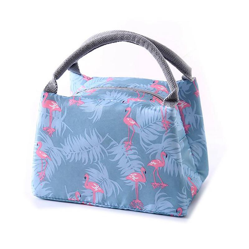 Animal Flamingo Lunch Bags Canvas Stripe Insulated Thermal Picnic Kids Cooler Women Portable Functional Lunch Box Bag Tote