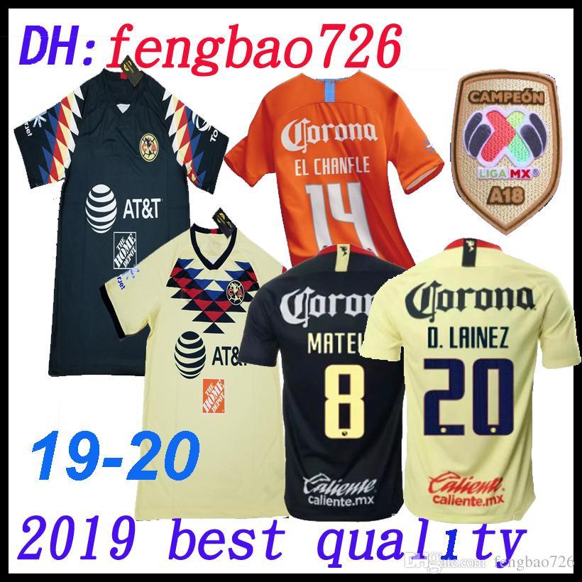 32326da44 2019 19 20 TOP Quality 18 LIGA MX Club America Soccer Jerseys Home Yellow Away  Third Green 2018 2019 2020 Camisetas O.Peralta Football Shirts From ...