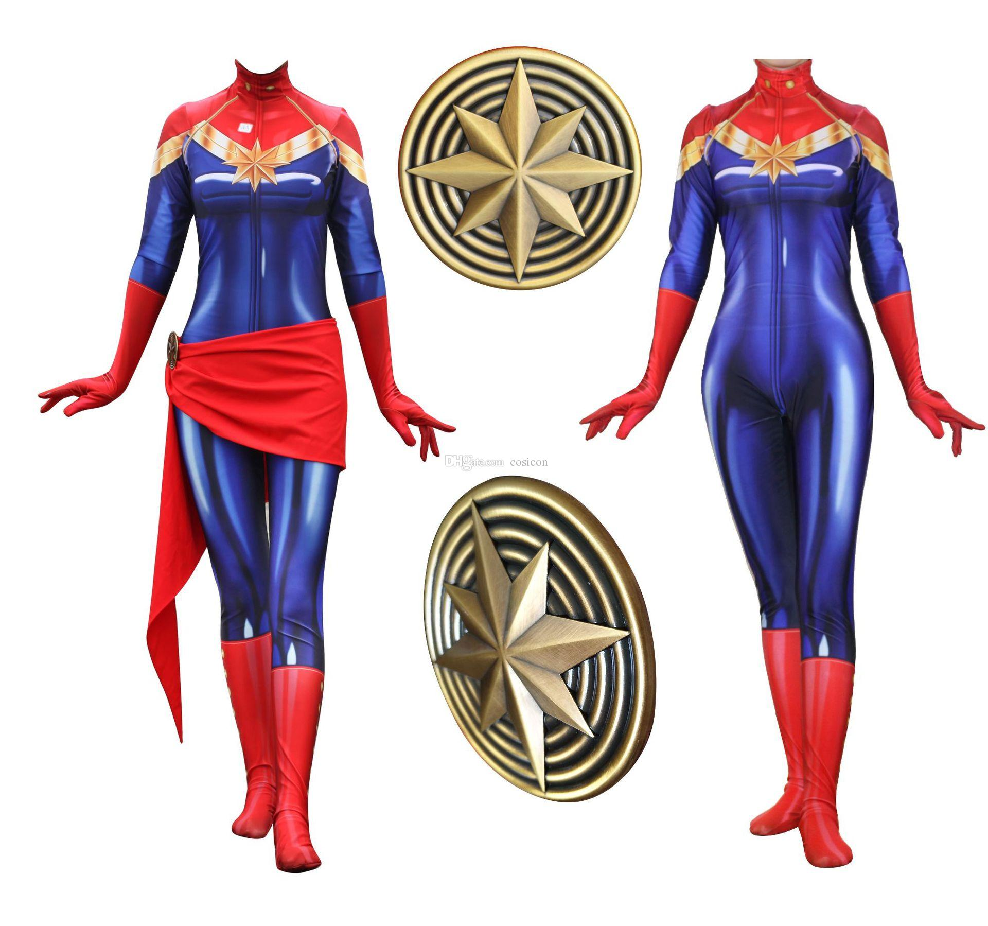 22165d56595 Women Girls  Superhero Captain Marvel Uniform Jumpsuit With Belt Badge  Carol Danvers Bodysuit Halloween Cosplay Party Costume Theatrical Costumes  Cheap ...