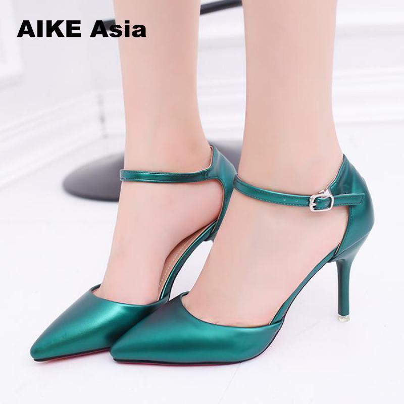 a9895c6a31df Dress Shoes Plus Size 32 42 Women S Pumps Pointed Toe Patent Leather High  Heels Sexy Ankle Strap Ladies Party Wedding Silver Red Beige Heels Shoes  Online ...