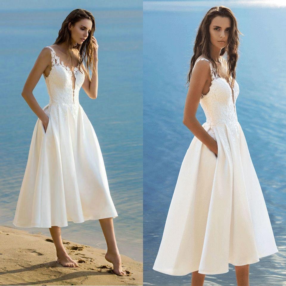 Beach Wedding Gowns Pinterest: Discount Elegant Short Wedding Dress 2019 Wedding Gowns
