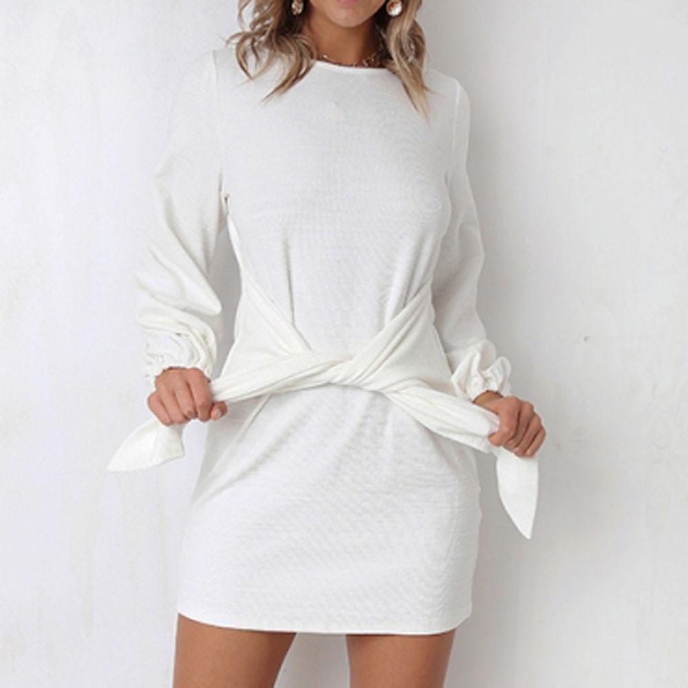 b40dd0157 Compre Vestido De Vendaje Vestido Blanco Recto O Cuello Manga Larga Tejido  Sólido Vestido Elegante Vestidos De Verano A  41.32 Del Bibei06
