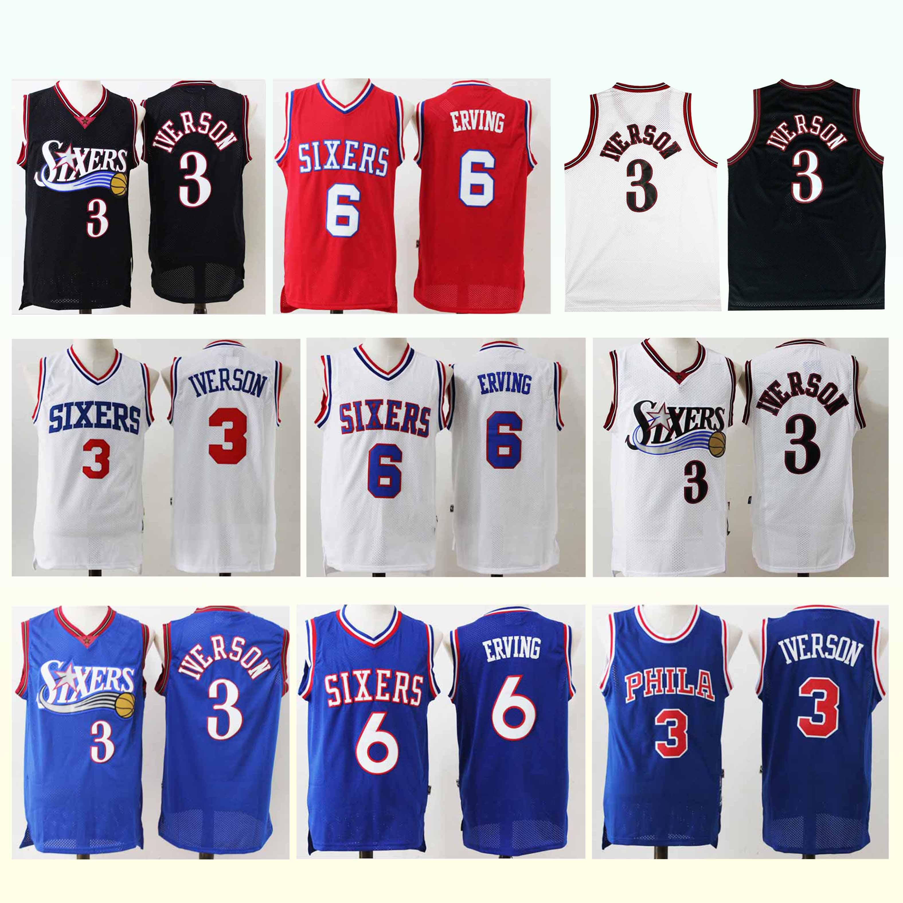 watch 51403 7c271 Retro jersey 3 Iverson 6 ERVING 18/19 new men basketball jerseys superior  quality 2019 Free shopping