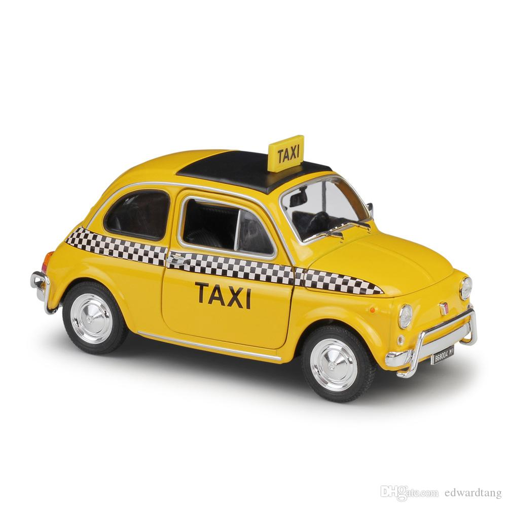 Welly Alloy Car Model Toys Nuova Fiat 500 Lodon Taxi Police Car 1 24 Scale For Party Kid Birthday Gifts Collecting Home Decorations