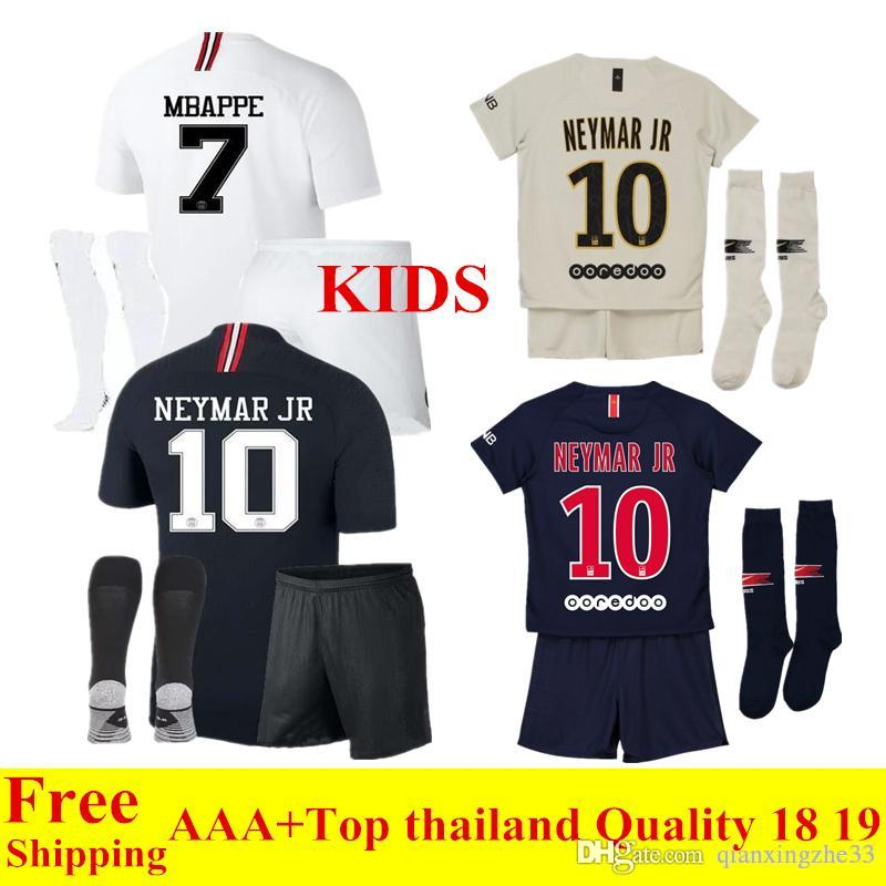c13e83f58 2019 18 19 Ligue 1 Paris Kids Soccer Jersey MBAPPE 2018 2019 Psg Away Soccer  Sets DI MARIA CAVANI Child Football Shirts Kits From Qianxingzhe33