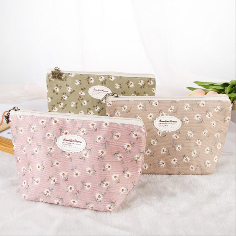 ed0f09f7a8ab 4 Colors Hot Flowers Pattern Makeup Bag Pouch Organizer Toiletry Bag  Fashion Cute Portable Travel Women Girls Cosmetic