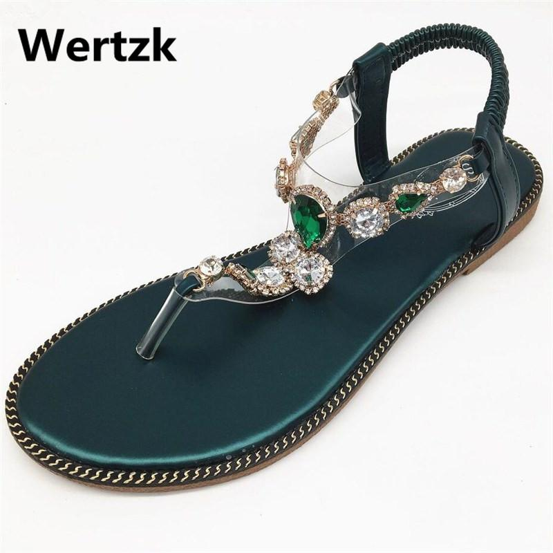 10f2a4571347fe Wertzk 2019 Woman Sandals Women Shoes Rhinestones Chains Thong Gladiator  Flat Sandals Crystal Chaussure Tenis Feminin E039 Designer Shoes White Shoes  From ...