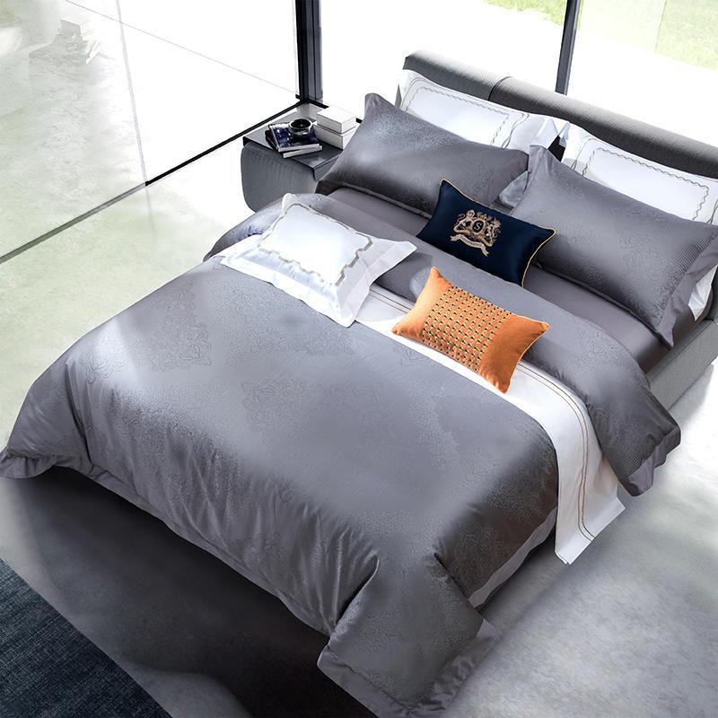 Großhandel 800tc ägyptische Baumwolle Blau Grau Bettwäsche Set Luxus