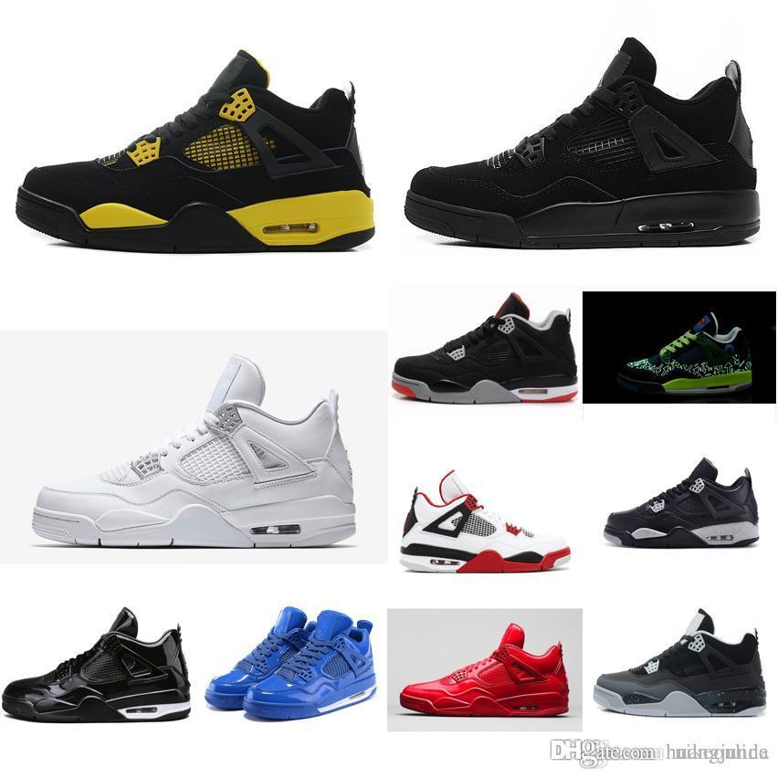 pretty nice ff73f 6a208 2019 Cheap Womens Jumpman Retro 4s IV Basketball Shoes Thunder Black Cat  Yellow Red Blue J4 Air Flights Sneakers Boots With Box For Sale From  Huangjunda, ...