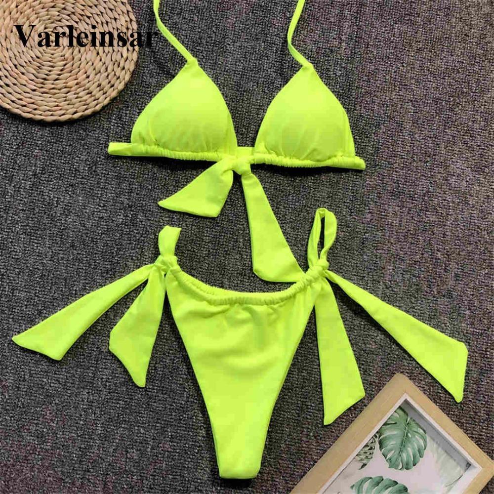 96c75e7a0fbb Bikini anudado verde neón Traje de baño femenino Traje de baño para mujer  Conjunto de bikini de dos piezas Traje de baño de bañador Halter Ropa ...