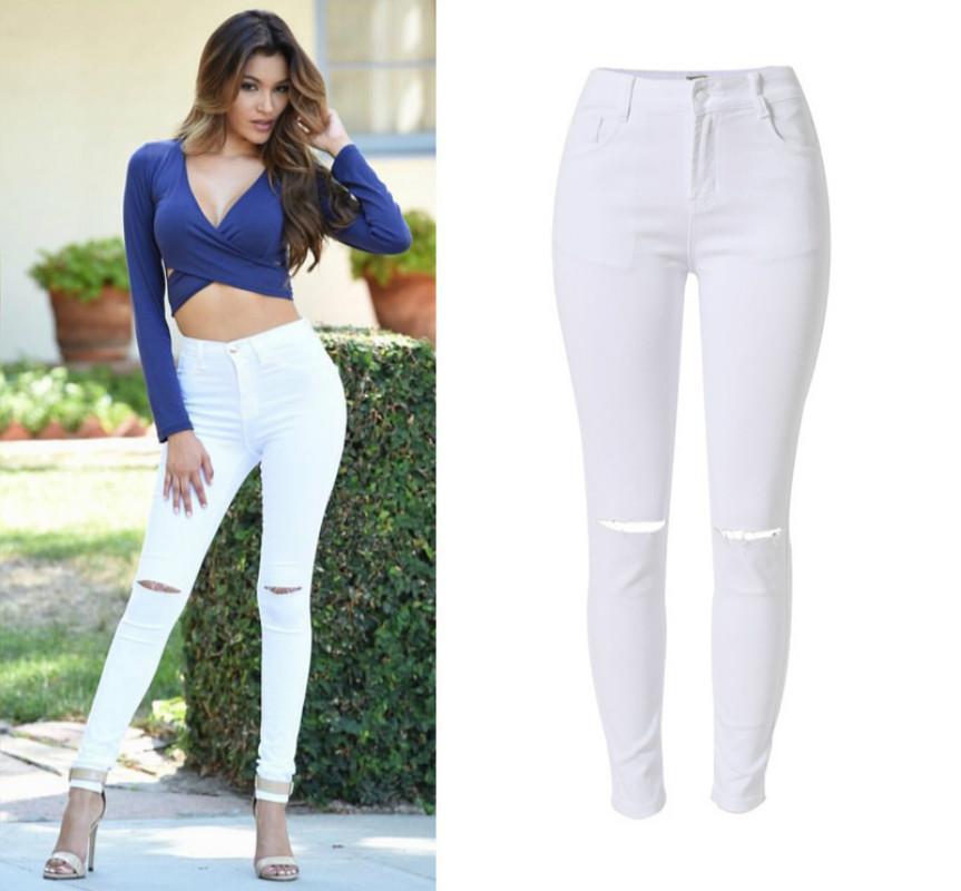 f6709e77 Agujero de la rodilla Pantalones de algodón blanco Feminina Cintura alta  estiramiento Jeans ajustados Femme Push Up Ripped Jeans mujeres Sexy ...