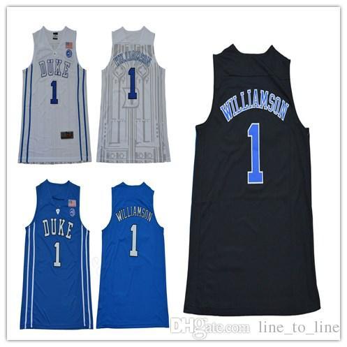hot sale online 4caa9 d1a0f College Basketball Duke Blue Devils 1 Zion Williamson 35 Marvin Bagley III  Jerseys 0 Jayson Tatum Black White Blue Stitched