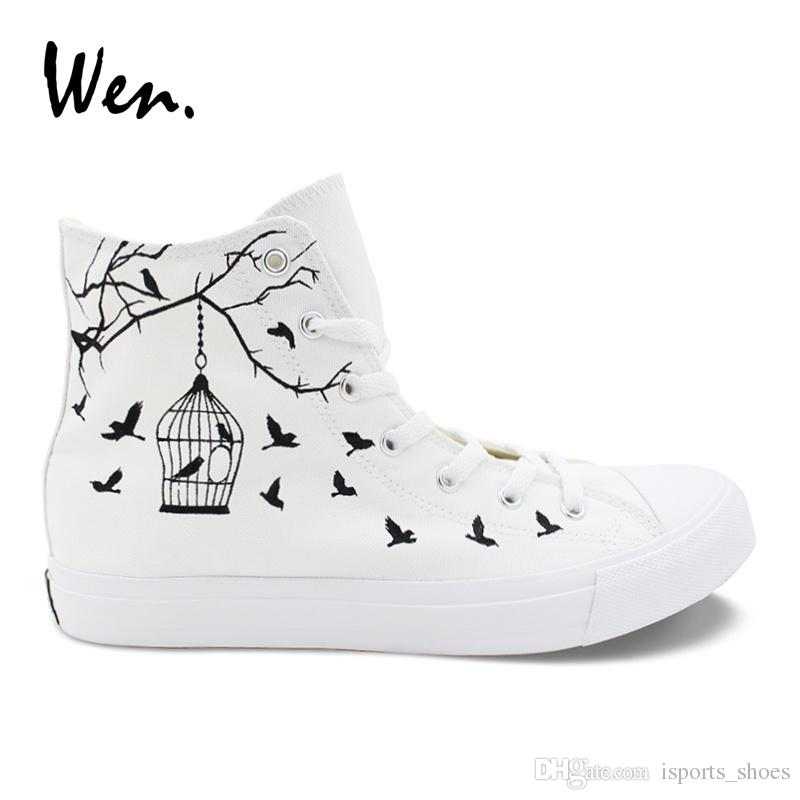 d6296f20ff0 Wen Canvas Casual Flats White Women Design Bird Cage Hand Painted Shoes  Custom Strappy High Top Men Sneakers Outdoor Espadrilles  194899 Casual  Shoes For ...