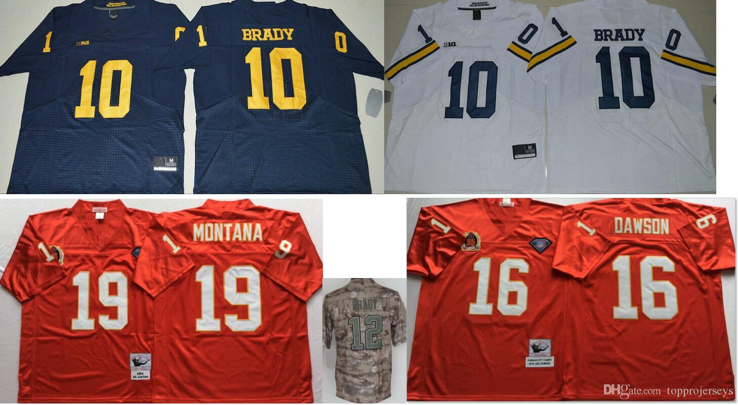 buy online 460ec 1efca Michigan Wolverines #10 Tom Brady 12 College Mens Vintage Kansas 19 Joe  Montana Salute To Service Stitched American Football Jerseys Cheap
