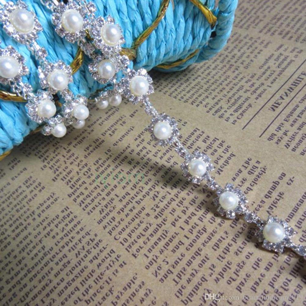e196f917b3cd 1 yarda Bling Diamante Perlas de diamante Cinta de encaje Cinta moldeada  Rhinestone 0.5cm Ancho Cadena Cristal Gema Brillo Vestido de novia Cinturón