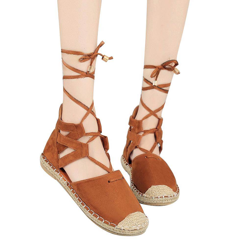 9589d908d Women Brown Flat Shoes Women Brown Flat Shoes Ankle Strap Lace Up Female  Beach Leisure Sandals #TX4 Cute Shoes Leather Sandals From Kendymade, ...