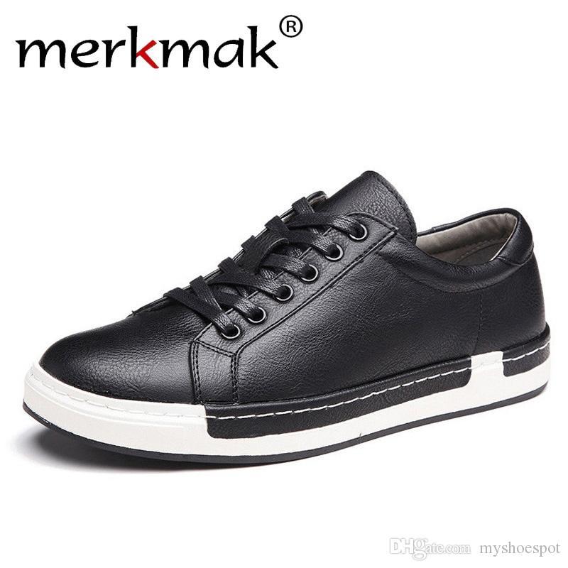 1270550919 Compre Merkmak Handmade Sapatos Masculinos Marca Casual Shoes Sólidos Lace  Up Retro Respirável De Couro De Microfibra Flats Homens Calçado   175531 De  ...
