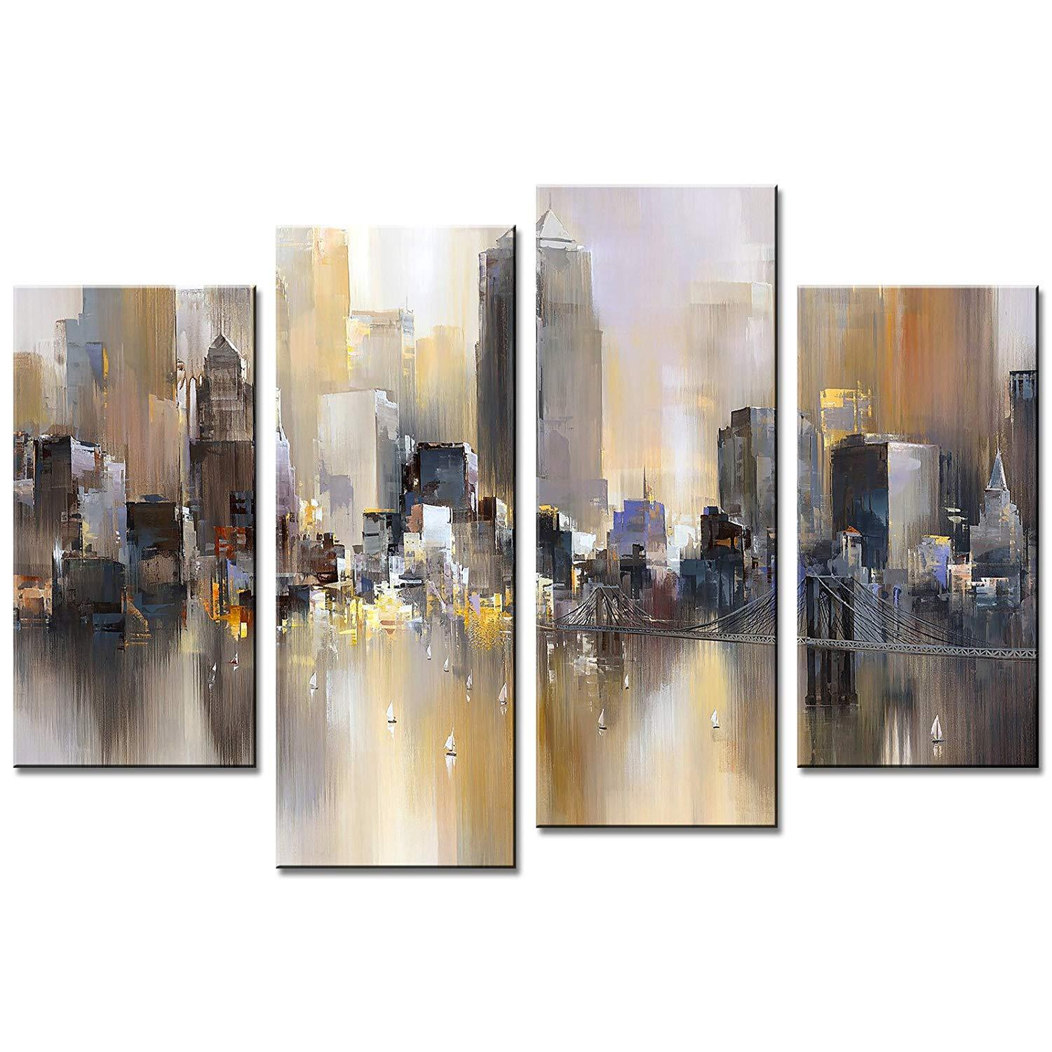 4 Pieces Abstract Canvas Pintura Nova Iorque Paisagem colorida City Foto Prints giclée arte esticada Framed Wall Art Decor Home presente