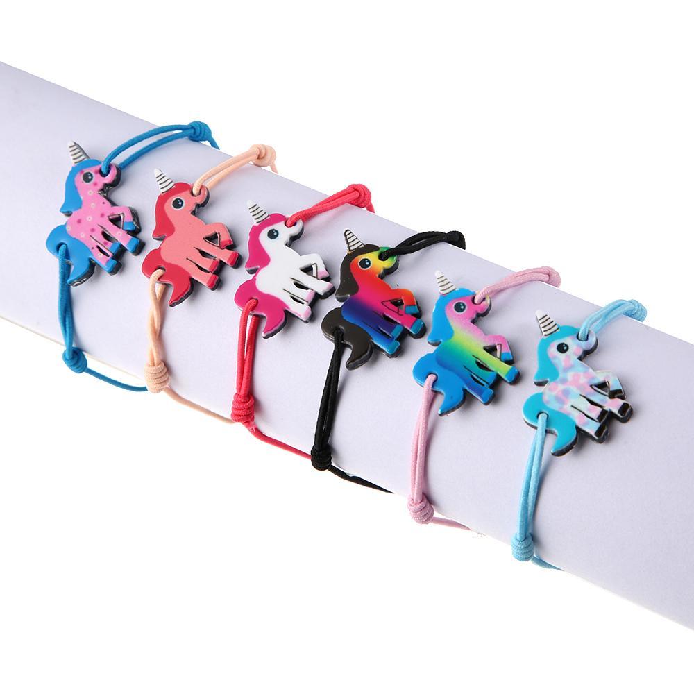/ insiemi arcobaleno / unicorno / donna del cranio ha intrecciato i braccialetti regolabili di yoga i braccialetti i monili fatti a mano dei caviglieri del bambino