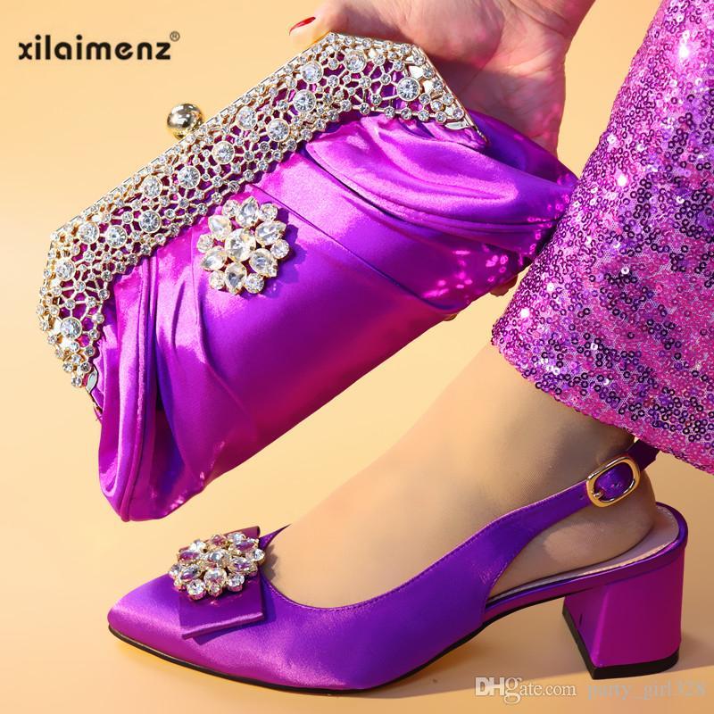 5a751ec1 Compre Últimas Zapatillas Africanas De Color Púrpura Con Bolsos A Juego  Zapatos Y Conjunto De Bolsos Conjuntos Italianos 2019 Zapato Y Bolso  Conjunto De ...