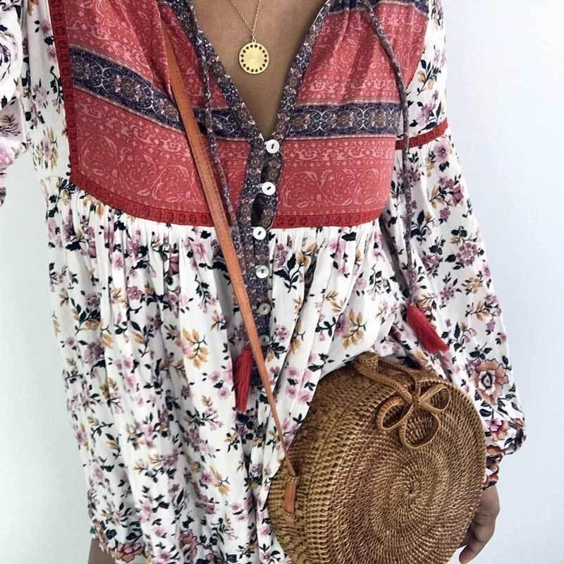 d75810dc48 2019 Summer Dresses Floral Print V Neck Buttons Front Tassel Tied ...