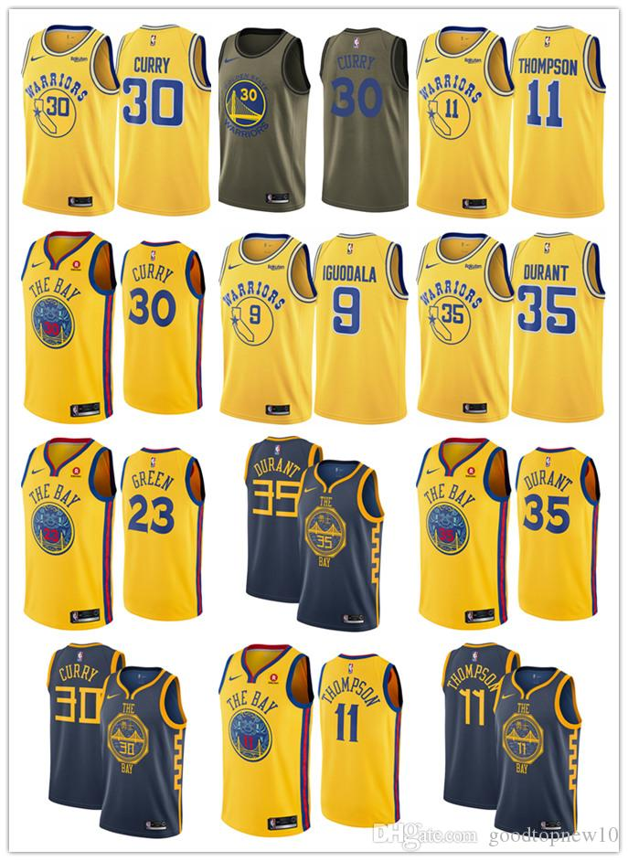 newest collection 94e3b 3b1b7 Stephen 30 Curry Warriors Jersey New Kevin 35 Durant Klay 23 Green Andre 9  lguodala Basketball
