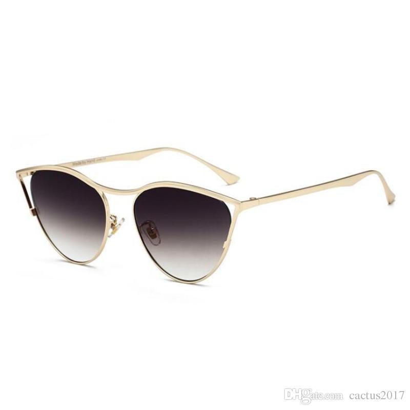0d83e14ef18 Cat Eye Sunglasses Women Metal Frame Rimless Luxury Brand Designer ...