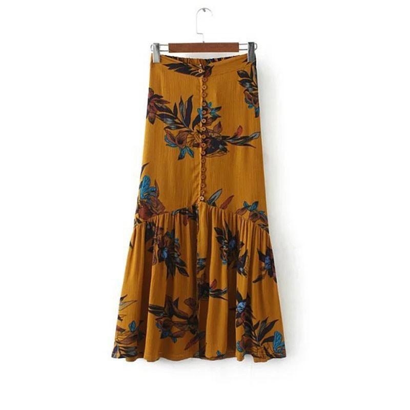 ea577e6f51 2019 High Waist Women Beach Loose Maxi Skirts Summer Vintage Print  Asymmetrical Elegant Split Long Skirt Clothing C190416 From Shen07, $18.22    DHgate.Com