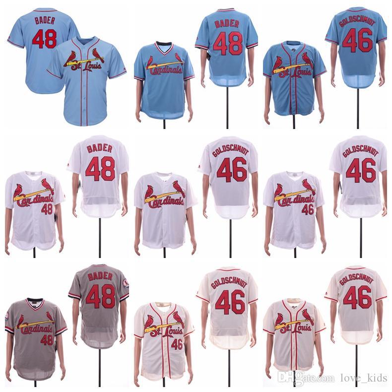 super popular be691 b75d1 St. Louis Cardinals 48 Harrison Bader 46 Paul Goldschmidt Jersey White Gray  Grey Navy Blue Cream Baseball Jerseys