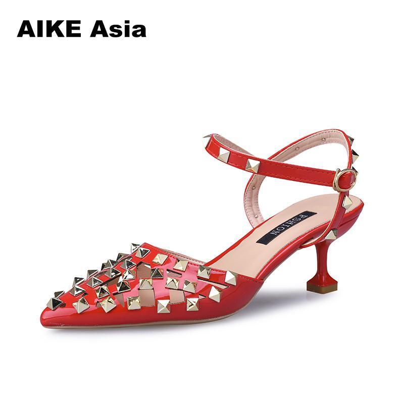 2caf27d2a1e28 Designer Dress Shoes Hollow Fashion Sexy Rivets Pointed Toe Wedding Party High  Heeled Woman Sandals Stiletto New Women Pumps Summer Shoes For Men Womens  ...