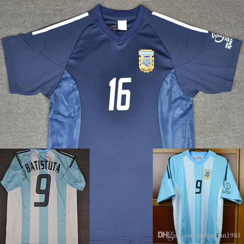 38cd96bcb8aff 2002 Retro Argentina Batistuta Camiseta De Fútbol Ortega Veron Camisetas De  Fútbol Aimar J.Zanetti Crespo Camiseta De Futbol Maglie Da Calcio Maillot  Por ...