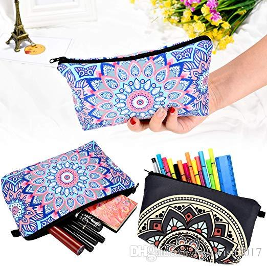 f267524524b5 Makeup Bag Waterproof Toiletry Pouch Cosmetic Bag with Mandala Flowers  Patterns 4 style