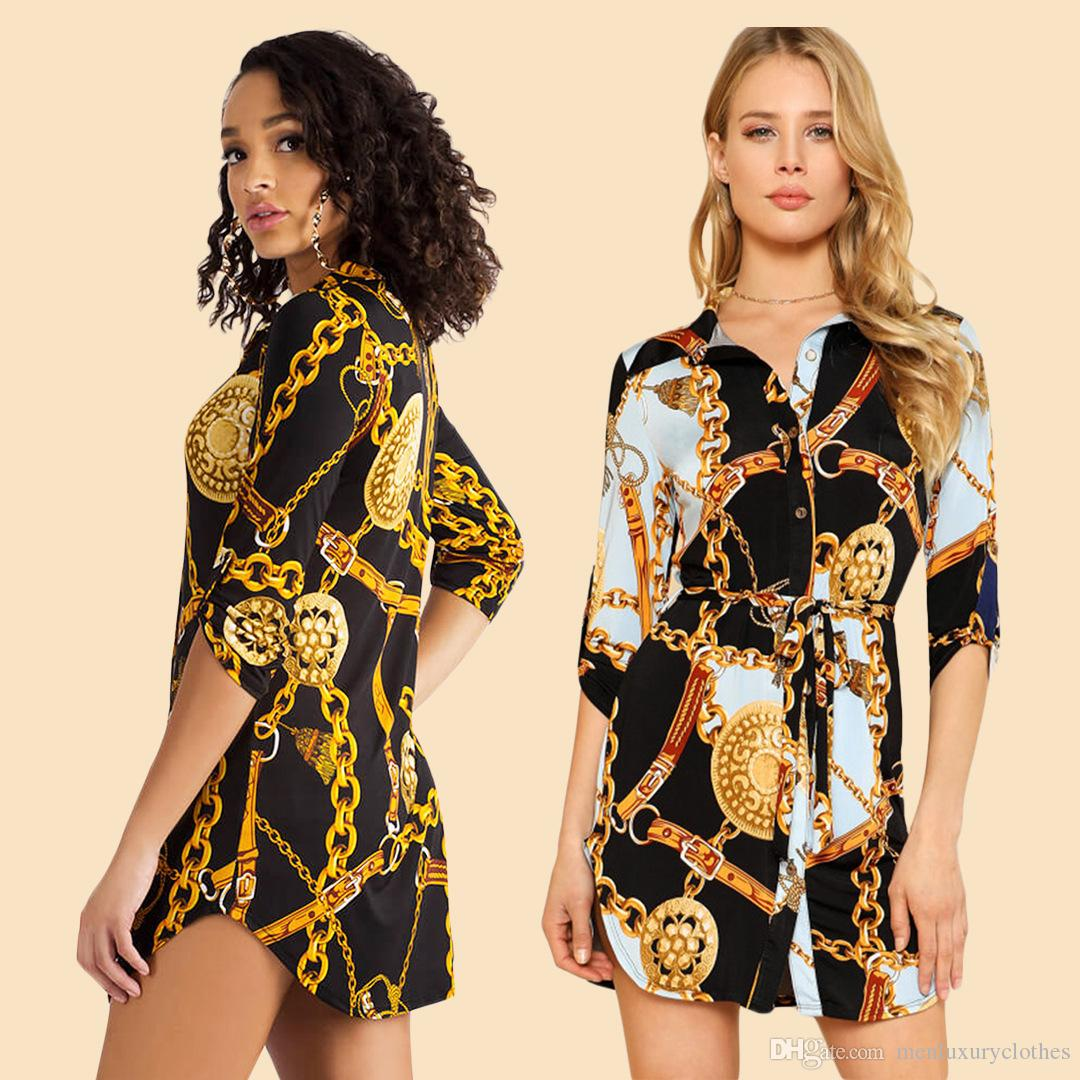f2b16a1d6c526 Spring Autumn New Designer Shirt Dress Women Female Casual Shirt Chain  Design Printed Mini Dresses Women Casual Shirt Dress Long Sleeved Designer  Dress ...
