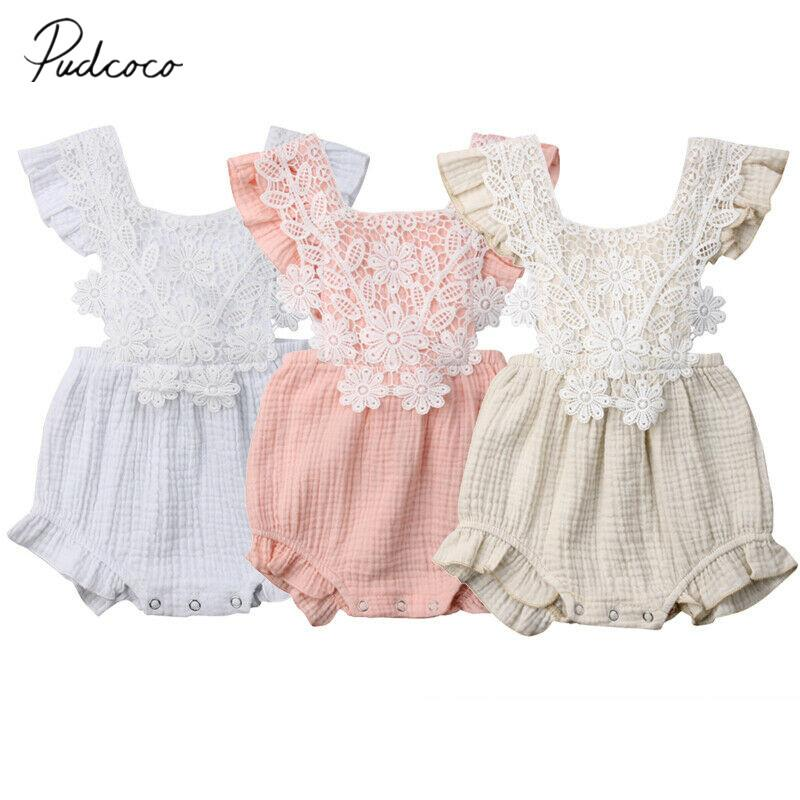 7356435f684 2019 2019 Brand New Cute Newborn Kids Baby Girl Solid Cotton Linen Bodysuit  Ruffle Lace Flower Playsuit Clothes Outfit Summer Sunsuit From Gaozang