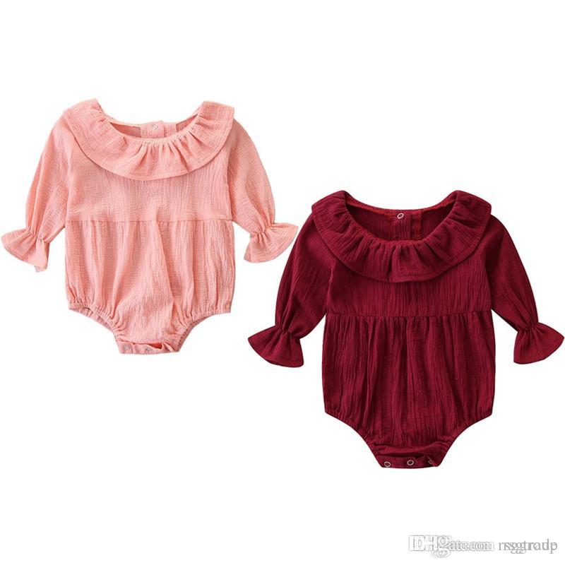 INS New Baby Infant Girls Rompers Ruffles Turn-down Collar Puff Long Sleeve Blank Pink Red Cotton Fabric Newborn Girls Jumpsuits 0-24M