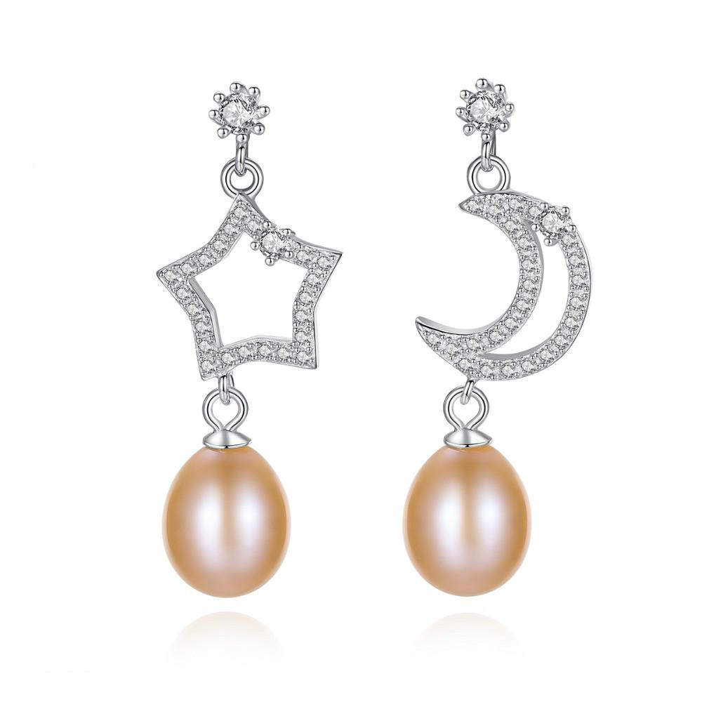 2019 New Fashion Natural Pearl Drop Earrings 925 Sterling Silver