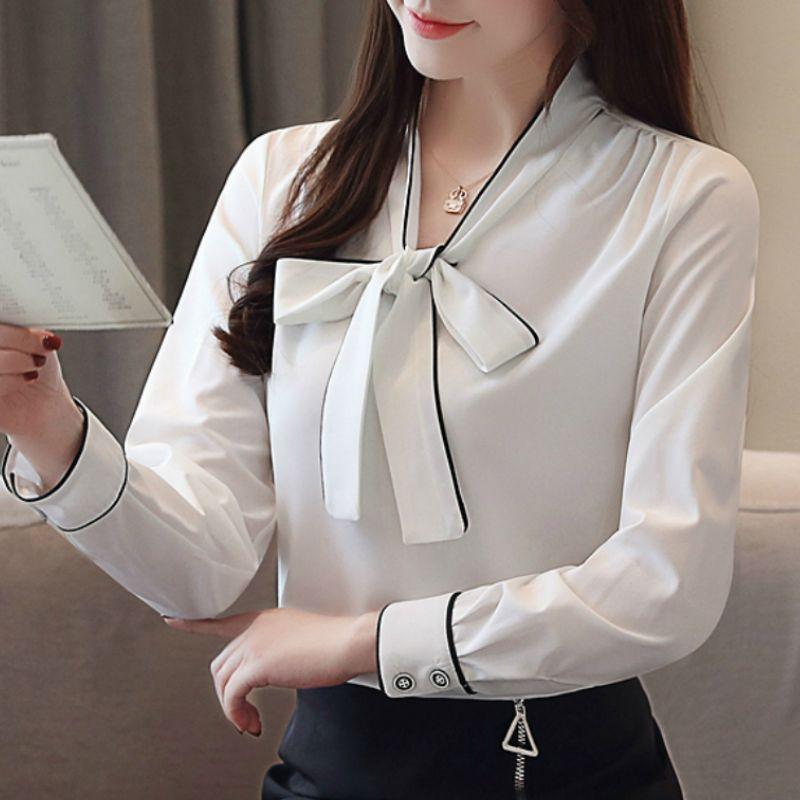 e05a0f938 Compre Moda Para Mujer Tops Y Blusas 2019 Arco V Cuello Oficina Blusa  Blanca Mujeres Blusa De Gasa Camisa De Manga Larga Camisas De Mujeres A917  A $21.24 ...
