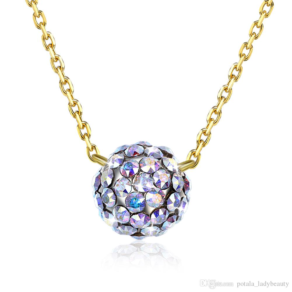 71bd568c91 Wholesale Fashionable Pendant Necklaces From Swarovski Element Crystal S925  Sterling Silver Ball Necklace Simple Designed Jewelry Women Gift POTALA303  ...