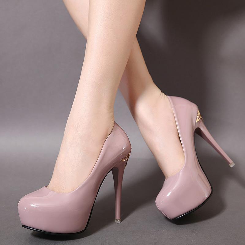 Compre Zapatos De Tacón Alto Para Mujeres Piel De Laca Poco Profunda ... a1aa0ec1248c