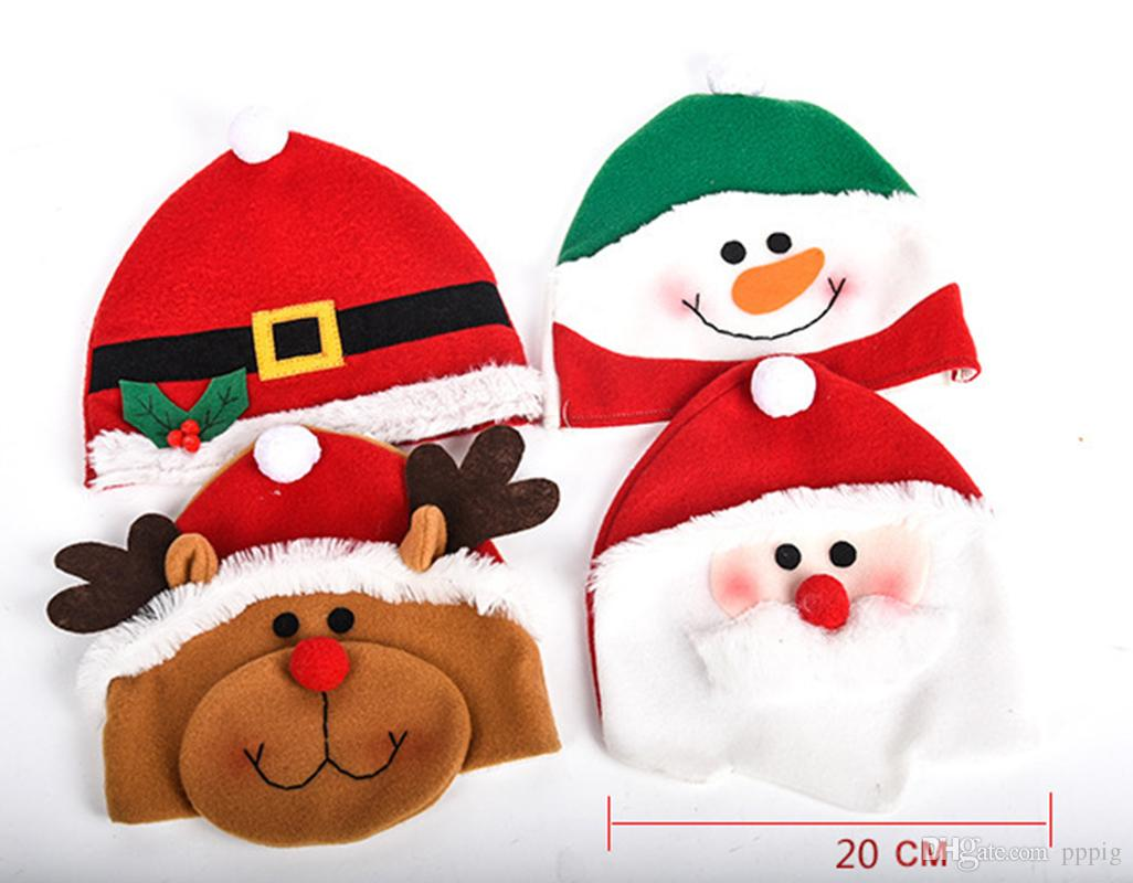 Christmas Ornaments Christmas Party Supplies Dress Up Gifts Cute Cartoon Santa Snowman Elk Children Christmas Hat