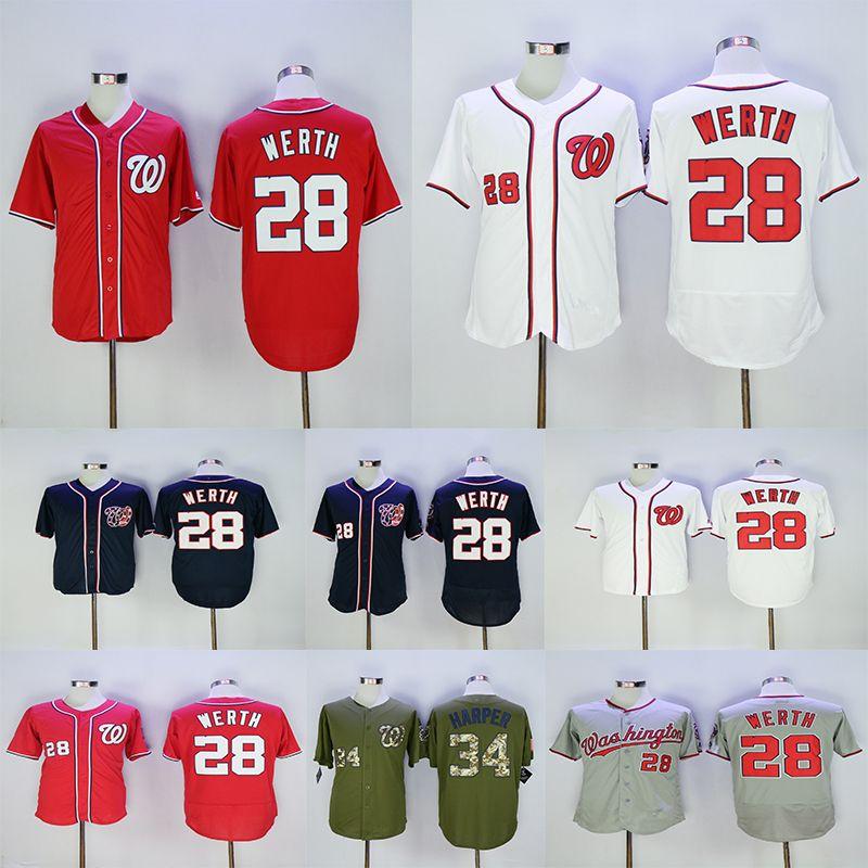 best loved 9edc7 2d7db Men's Washington Nationals 34 Bryce Harper Jersey 28 Jayson Werth White Red  Navy Grey Baseball Jerseys