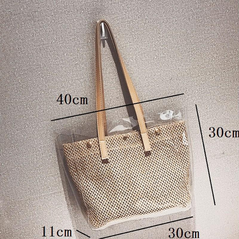 BEAU-2Pcs Composite Bags Summer Beach Bags Weave Tote Women Straw Ladies Pvc Shoulder Handbags Purses Female