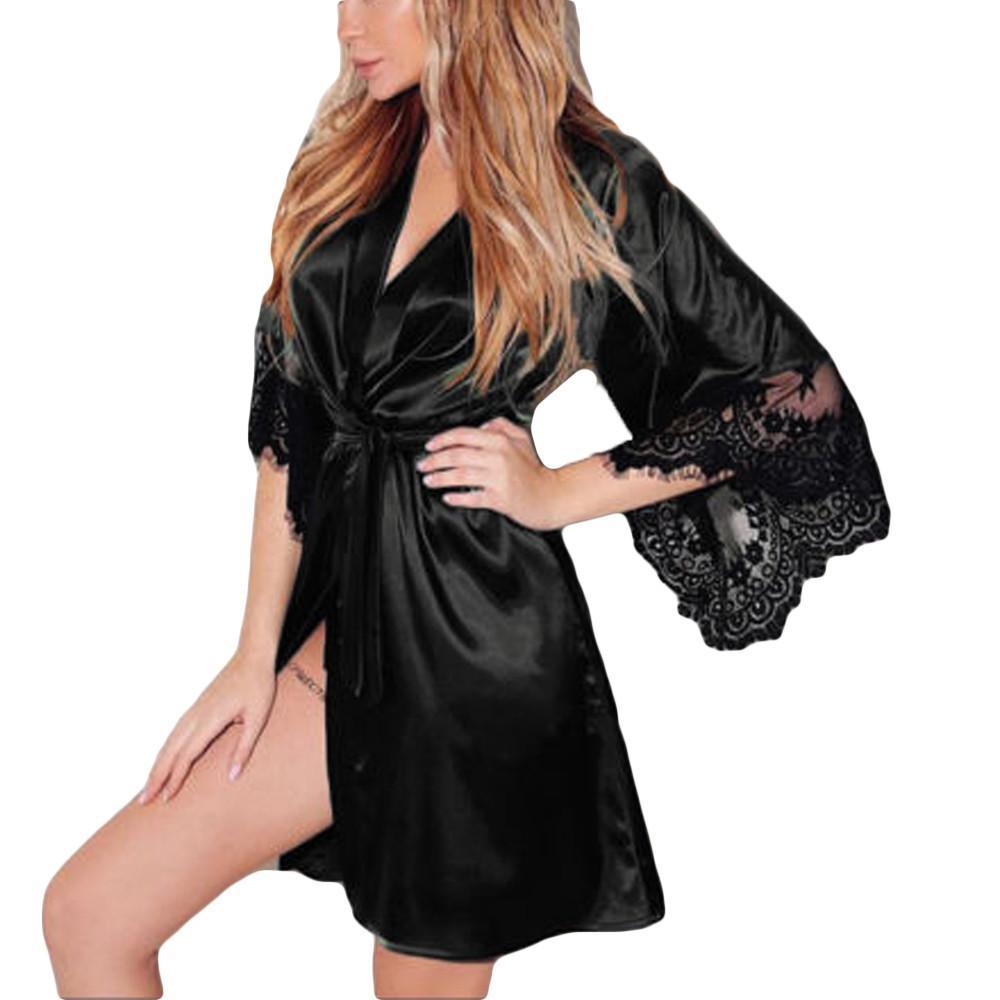 Women Sexy Silk Kimono Dressing Babydoll Lace Lingerie Belt Bath Robe Nightwear