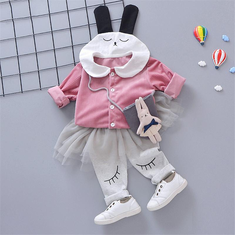 0-4 years High quality girl clothing set 2019 spring new active casual cartoon kid suit children baby clothing +pant 2pcs