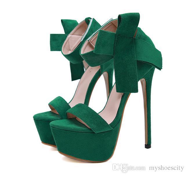 16 cm de Luxo bowtie tornozelo strappy plataforma ultra saltos altos mulher designer sandálias de salto alto tamanho 34 a 40