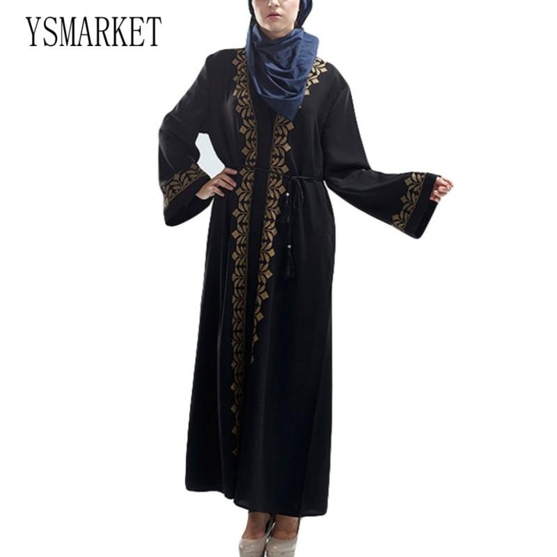 ebbc0fb25e7 YSMARKET Middle East Turkey Muslim Women Cardigan Robes Vintage Long Dress  Hot Gold Print Full Sleeve Dubai Islamic Dresses Maxi E428 White Dresses  With ...