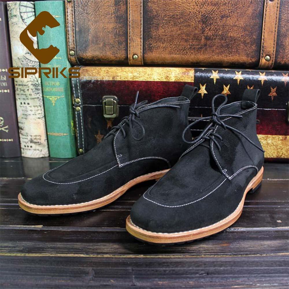 magasin en ligne d8175 0eb5a vente en gros de luxe bottes italiennes en cuir de vache imprégnées dans le  désert en daim noir à lacets de chaussures cousues Goodyear de chaussures  ...