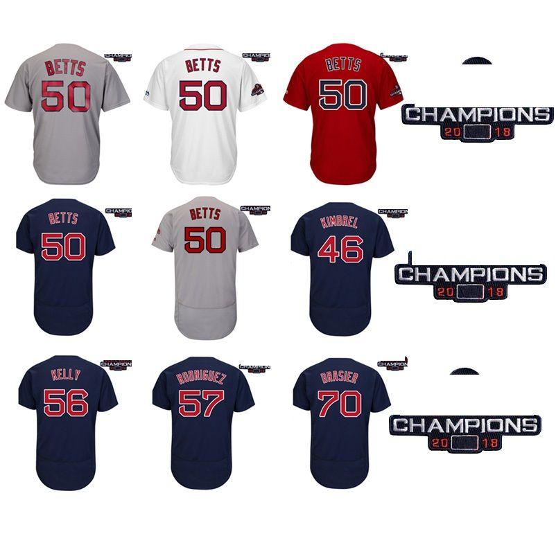 Men Boston Red 2018 WS Champions Patch Craig Kimbrel Mookie Betts Joe Kelly  Eduardo Rodriguez Ryan Brasier Baseball Jersey Baseball Jerseys Online  Cheap ... 153566be2