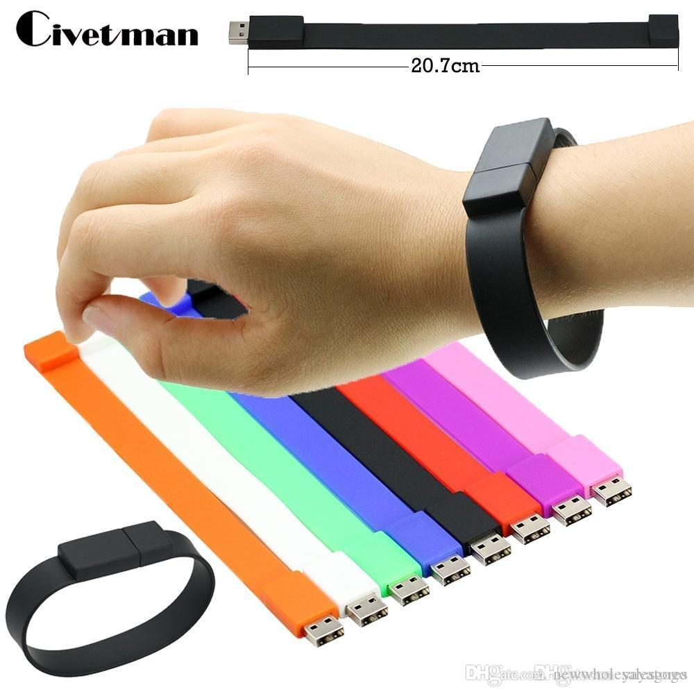 2.0 USB Silicone Bracelet Wrist Band USB Flash Drive Pen Drive Stick U Disk Pendrives 2GB 8GB 32GB 16GB 64GB High quality usb storage stick