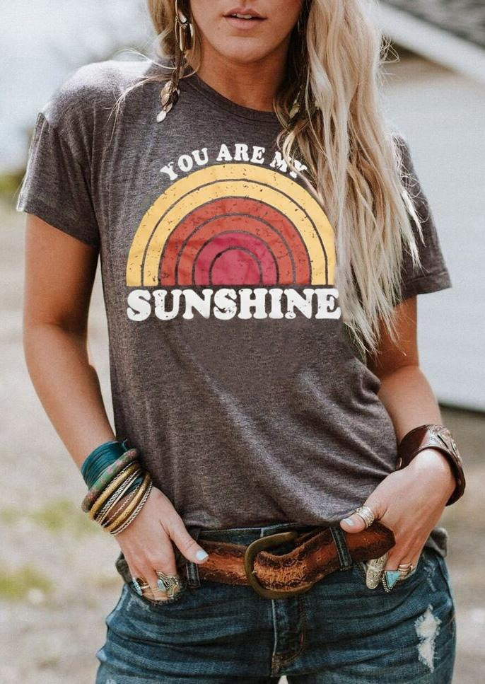 918199e309 Women T Shirt Summer Short Sleeve Tops Tee You Are My Sunshine Rainbow  Print O Neck T Shirt Female Harajuku T Shirt Ladies Tops Cool Shirts Online  All ...